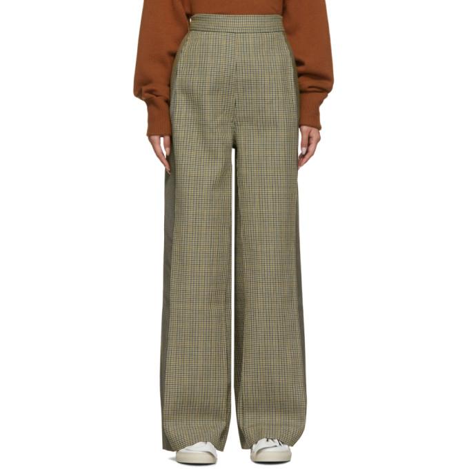 Ports 1961 Pantalon a motif pied-de-poule gris Contrast