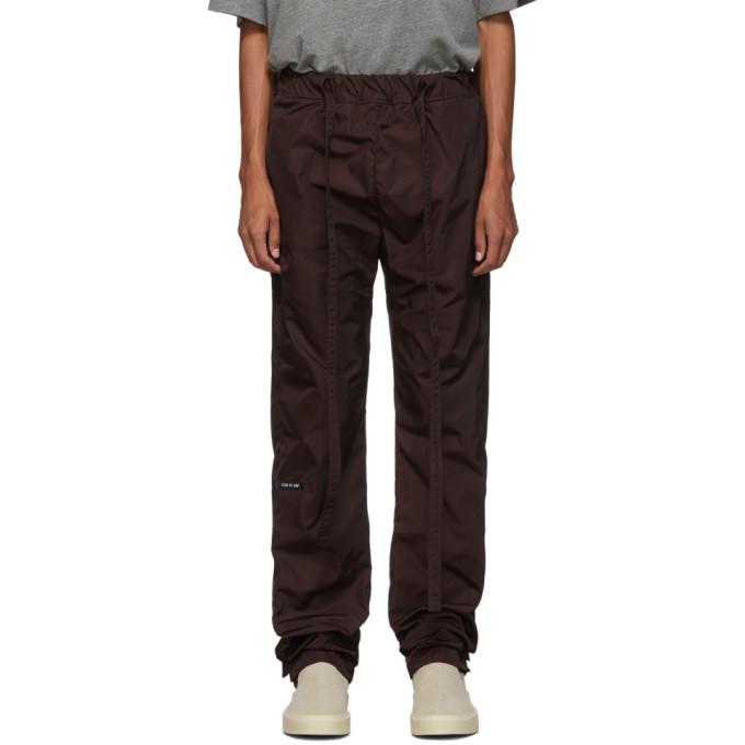 Fear of God Pantalon de survetement en nylon bourgogne