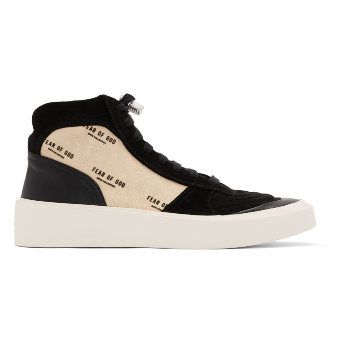 Fear of God Baskets noires et blanc casse Strapless Skate Mid