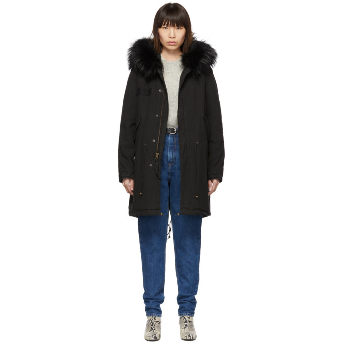 Mr and Mrs Italy Parka noire Long Fur Army
