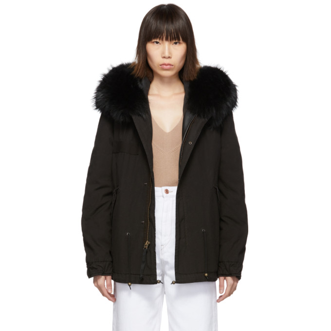 Mr and Mrs Italy Parka noire Mini Fur Army