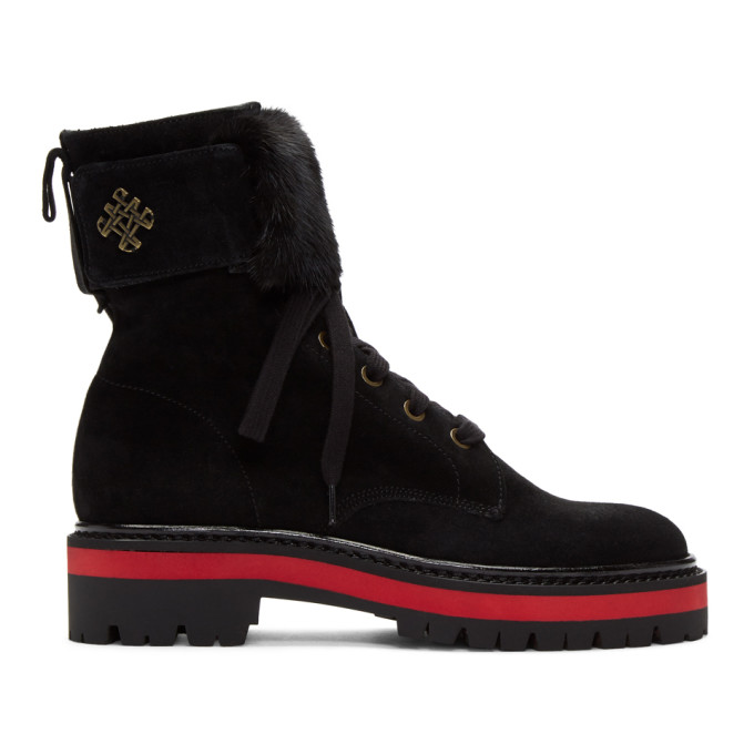 Buy Mr and Mrs Italy Black Combat Boots online