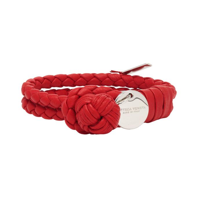 BOTTEGA VENETA | Bottega Veneta Red Intrecciato Knot Bracelet | Goxip