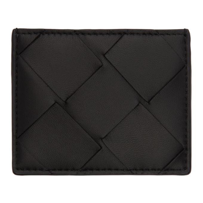 Bottega Veneta 0 BOTTEGA VENETA BLACK MACRO INTRECCIATO CARD HOLDER