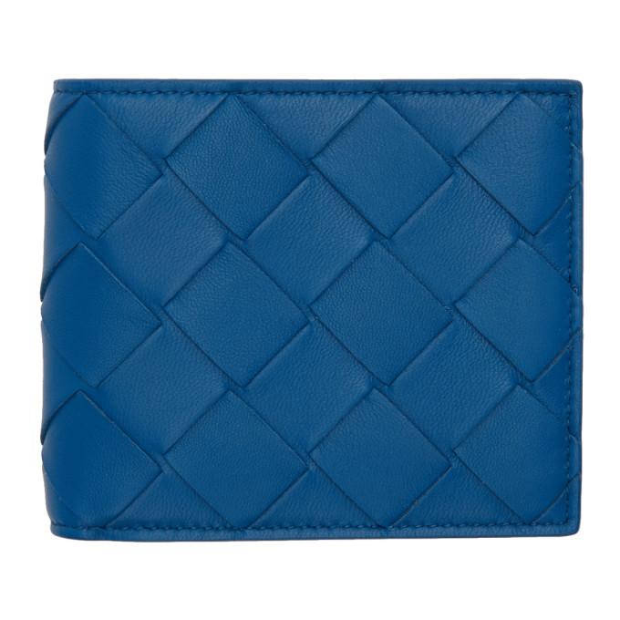 Bottega Veneta ブルー イントレチャート バイフォールド ウォレット
