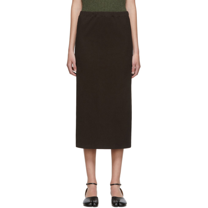 OUR LEGACY | Our Legacy Brown Compact Rib Tube Skirt | Goxip