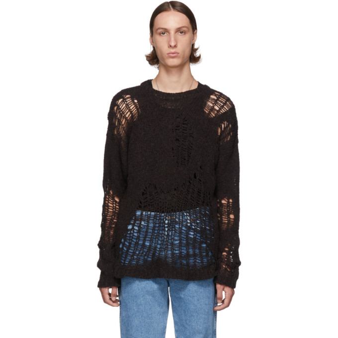 Our Legacy Brown Popover Roundneck Sweater