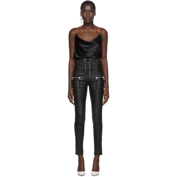 Unravel Pantalon en cuir noir Plonge Corset