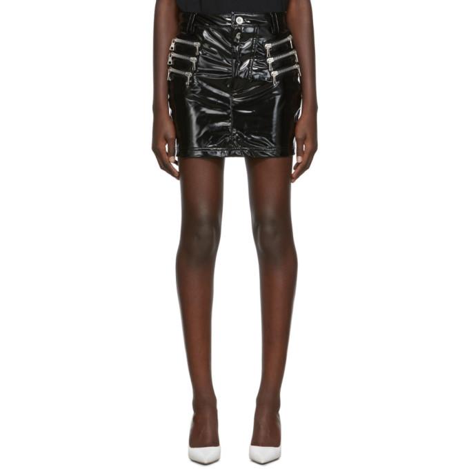 Unravel Black Latex Triple Zip Skirt