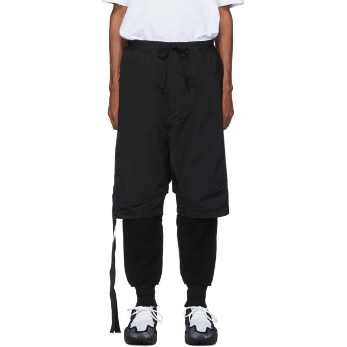 Unravel Black Cotton and Nylon Sweatpants