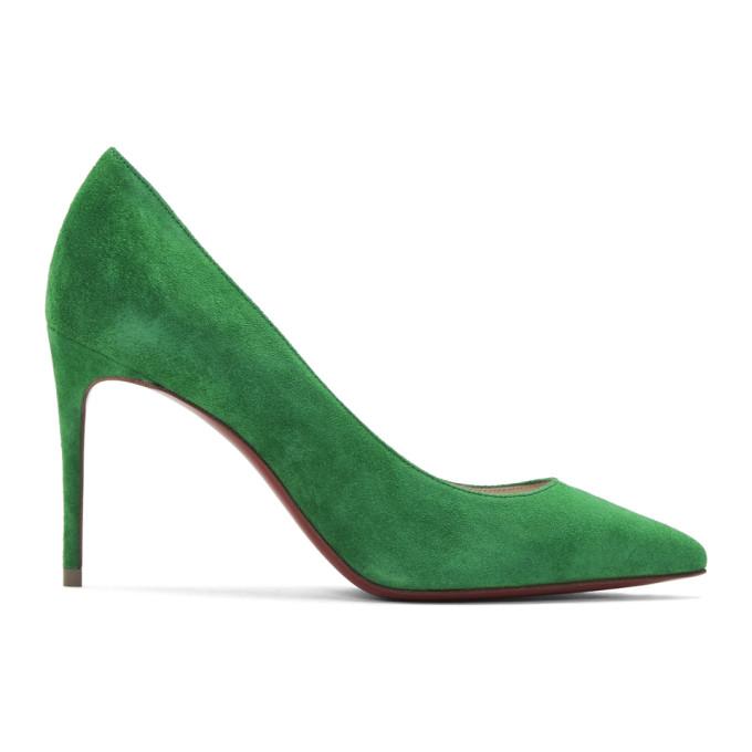 Christian Louboutin Green Velour Suede Kate 85 Heels