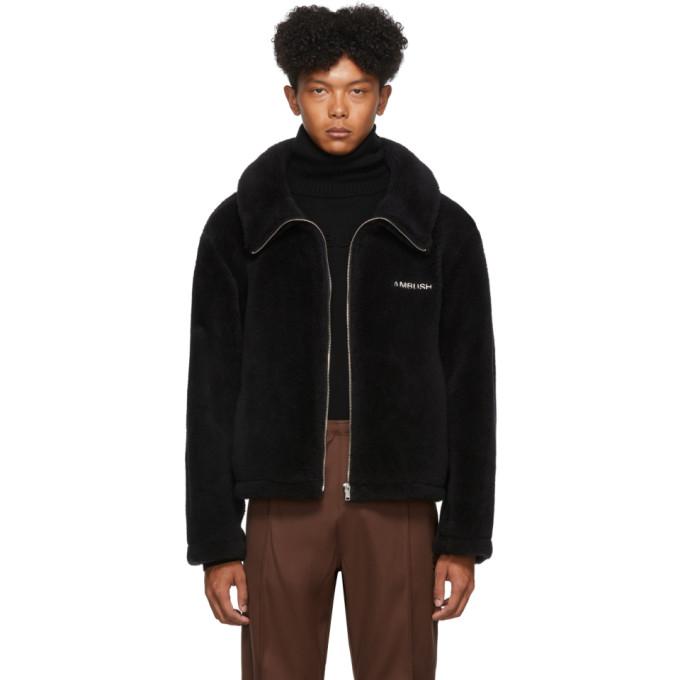 Ambush ブラック ウール フリース ロゴ ジャケット