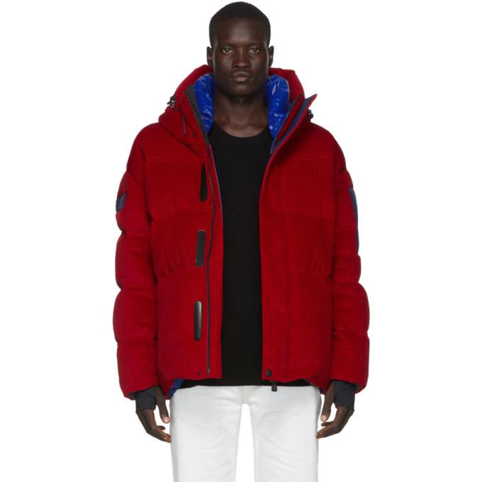 Moncler Grenoble Red Down Corduroy Stuller Jacket