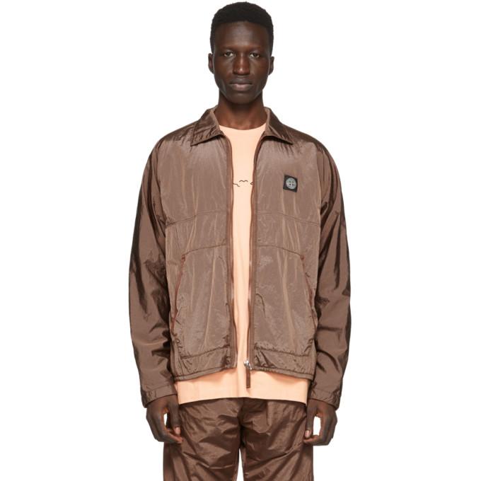 Stone Island Orange Zip-Up Overshirt Jacket