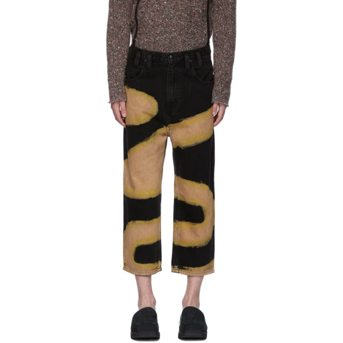 Eckhaus Latta Black and Beige Chemtrail Baggy Jeans