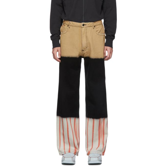 Eckhaus Latta Jean a jambe ample brun clair et noir Tri-Stacked