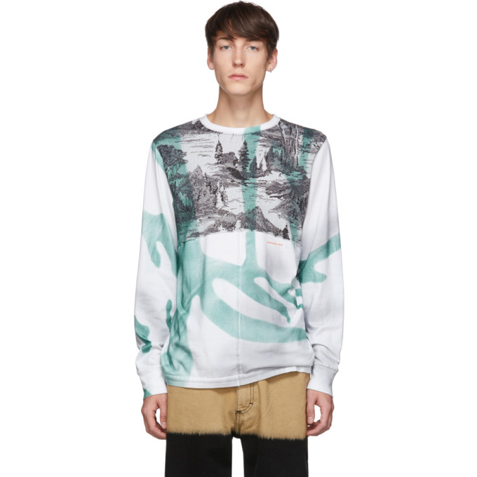 Eckhaus Latta White and Green Warped Yosemite Lapped Long Sleeve T-Shirt