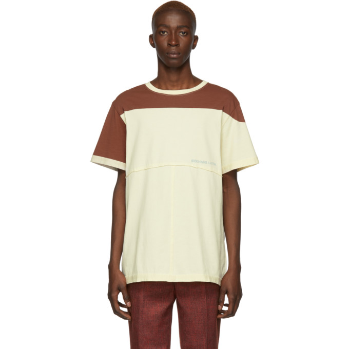 Eckhaus Latta T-shirt brun et jaune Lapped