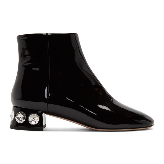 Miu Miu Black Patent Jewelled Ankle Boot
