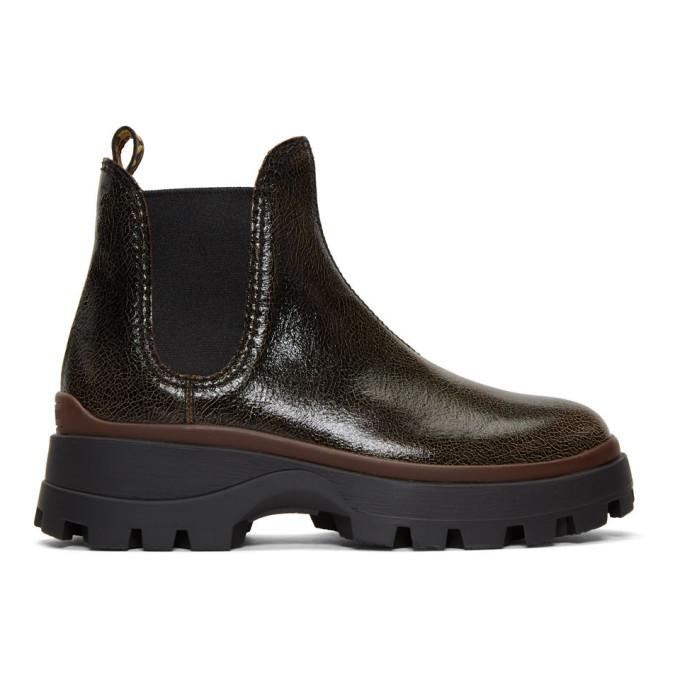 Miu Miu Black Crackle Chunky Heel Chelsea Boots
