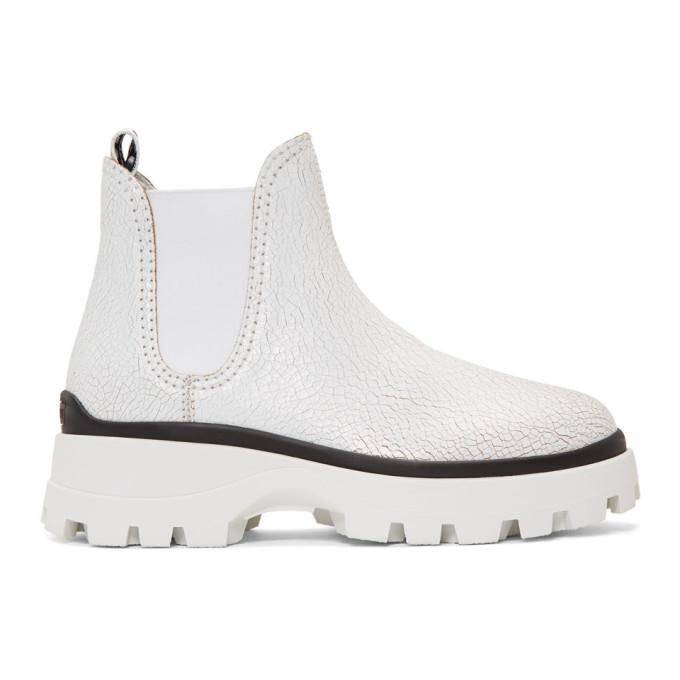Miu Miu White Crackle Chunky Boots