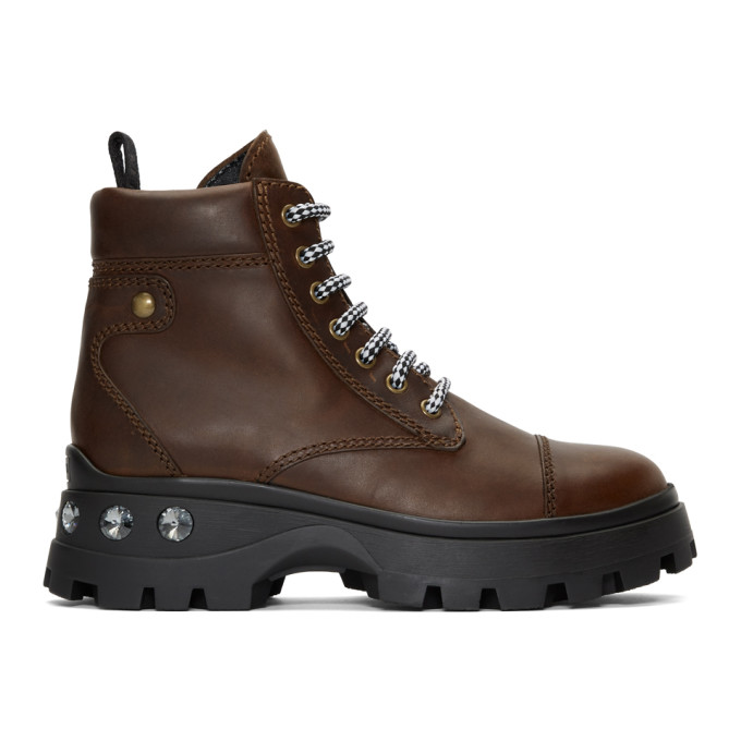 Miu Miu Brown Crystal Boots