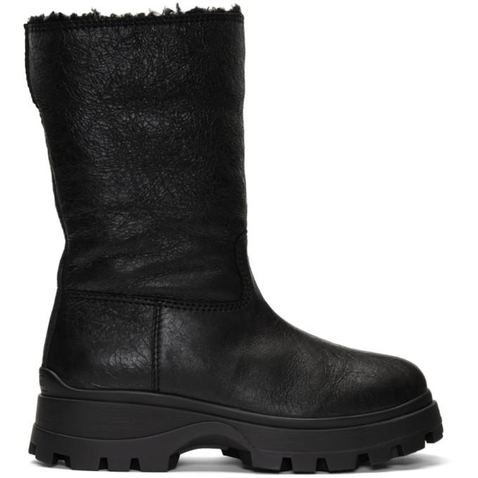 Miu Miu Black Eco Fur Boots