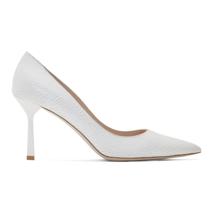 Miu Miu White Crackle Heels