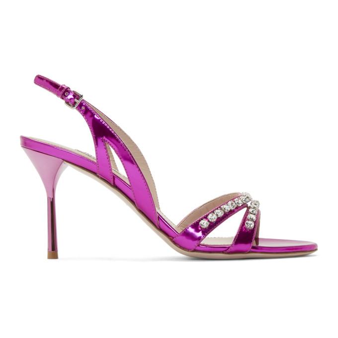 Miu Miu Pink Crystal Sandals