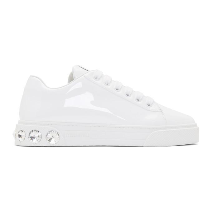 Miu Miu White Patent Crystal Sneakers