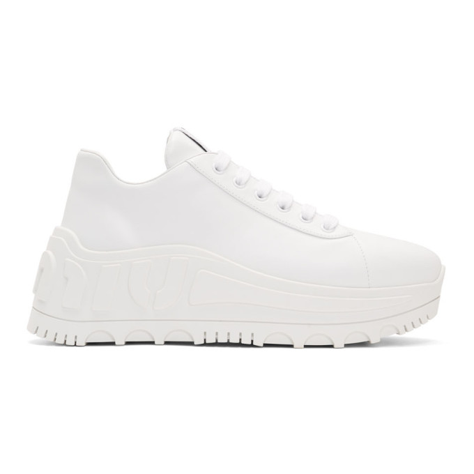 Miu Miu White Platform Leather Sneakers
