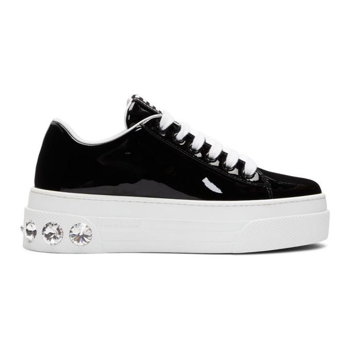 new product dad10 233bc Miu Miu Black Patent Crystal Platform Sneakers in F0002 Black