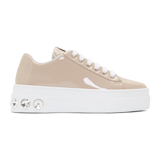 Miu Miu Brown Patent Crystal Platform Sneakers
