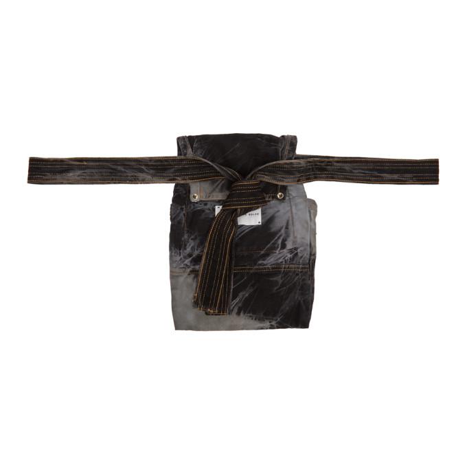 Matthew Adams Dolan Ceinture en denim noire et grise Utility