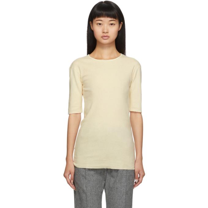Lauren Manoogian T-shirt en cachemire blanc casse exclusif a SSENSE