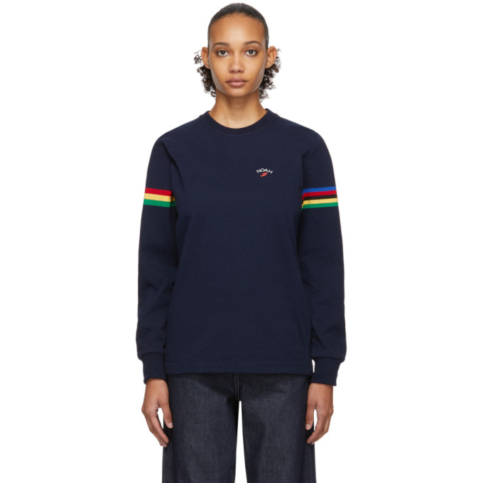 Noah NYC T-shirt a manches longues bleu marine Stripe Winged Foot Rugby
