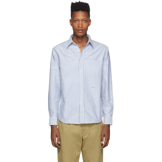 Noah NYC Chemise oxford rayee blanche et bleue