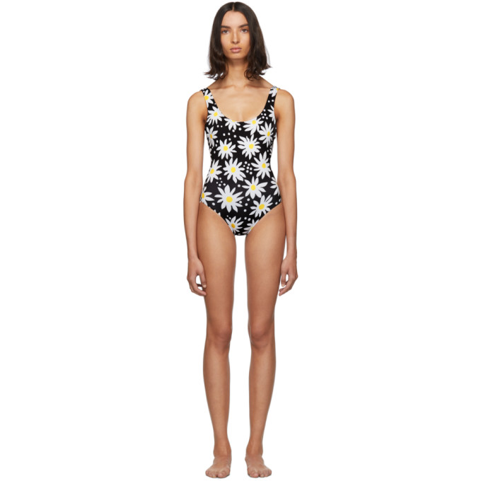 Solid and Striped Maillot de bain une piece noir et blanc Daisy The Anne-Marie