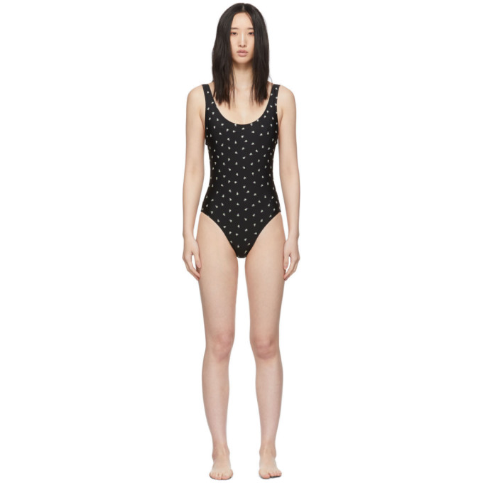 Solid and Striped Maillot de bain une piece noir Floral Embroidery The Anne-Marie