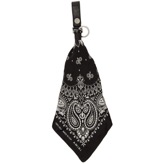 Amiri Porte-cles noir et blanc Bandana