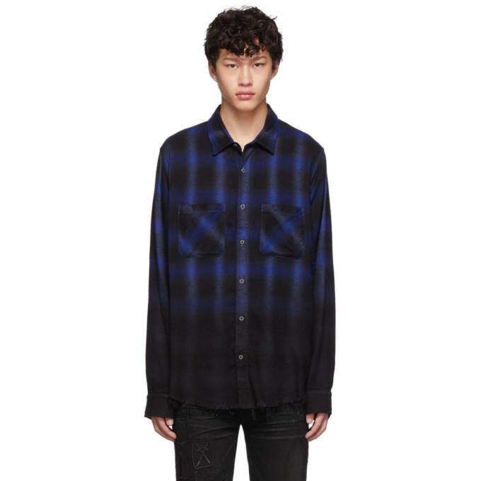 Amiri Chemise en flanelle noire et bleue Ombre