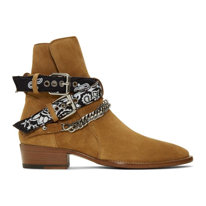 Amiri Brown Suede Bandana Buckle Boots
