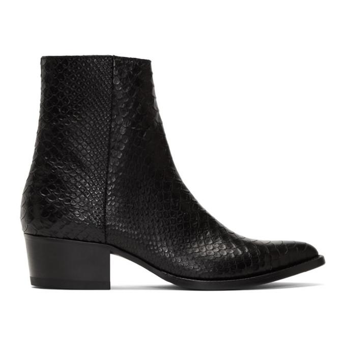 Amiri Black Snake Western Zip Boots