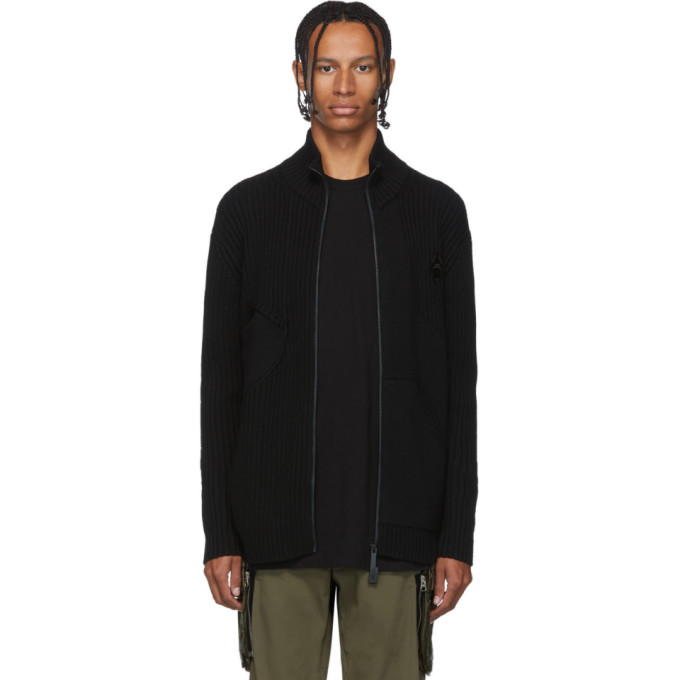 A-Cold-Wall* Black Merino Zip-Up Sweater