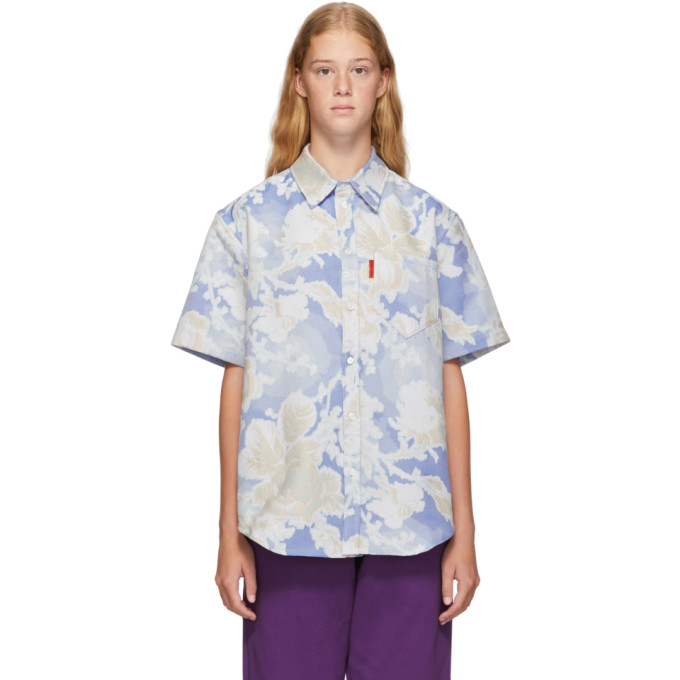 Martine Rose Chemise bleue Floral Woven
