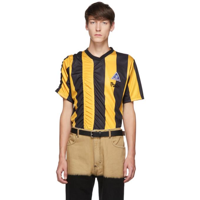 Martine Rose T-shirt fronce jaune et noir Football