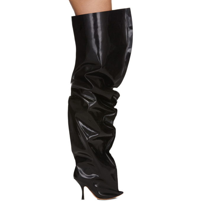 Y/Project Black Thigh High Boots
