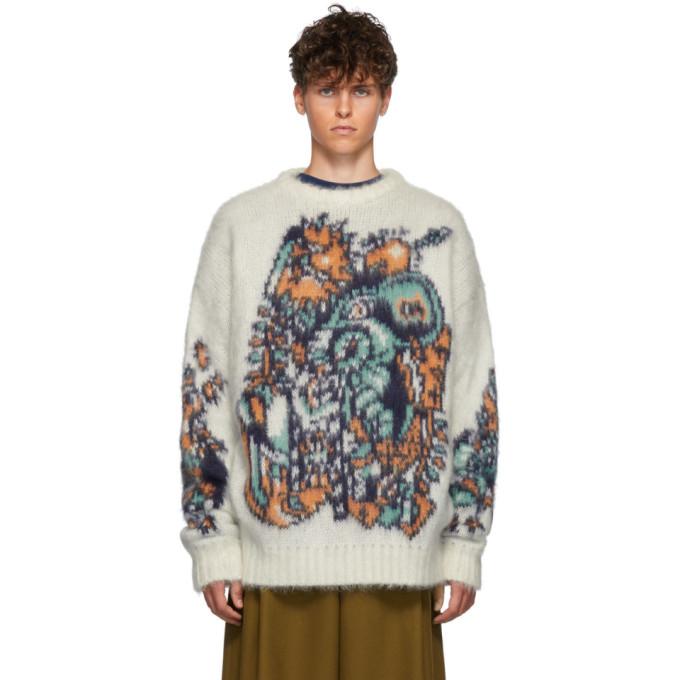 Y/Project ホワイト ジャカード モチーフ セーター