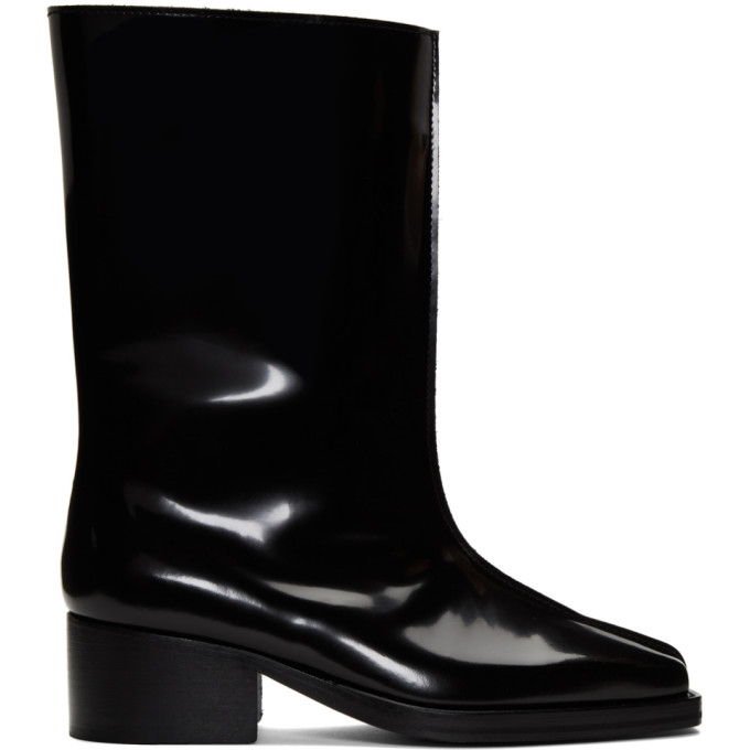 Y/Project Black Patent Low Tubular Boots