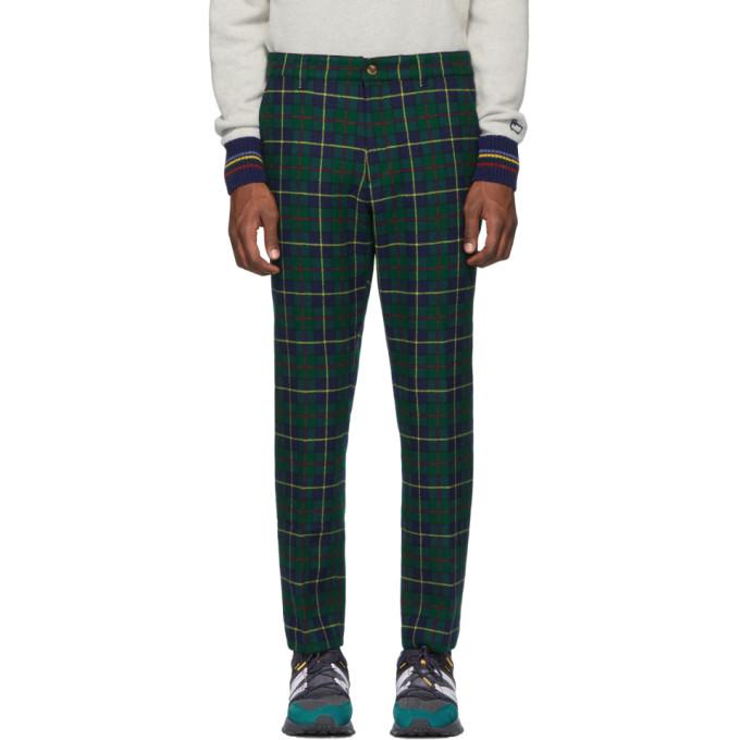 Aime Leon Dore Pantalon en laine a carreaux vert